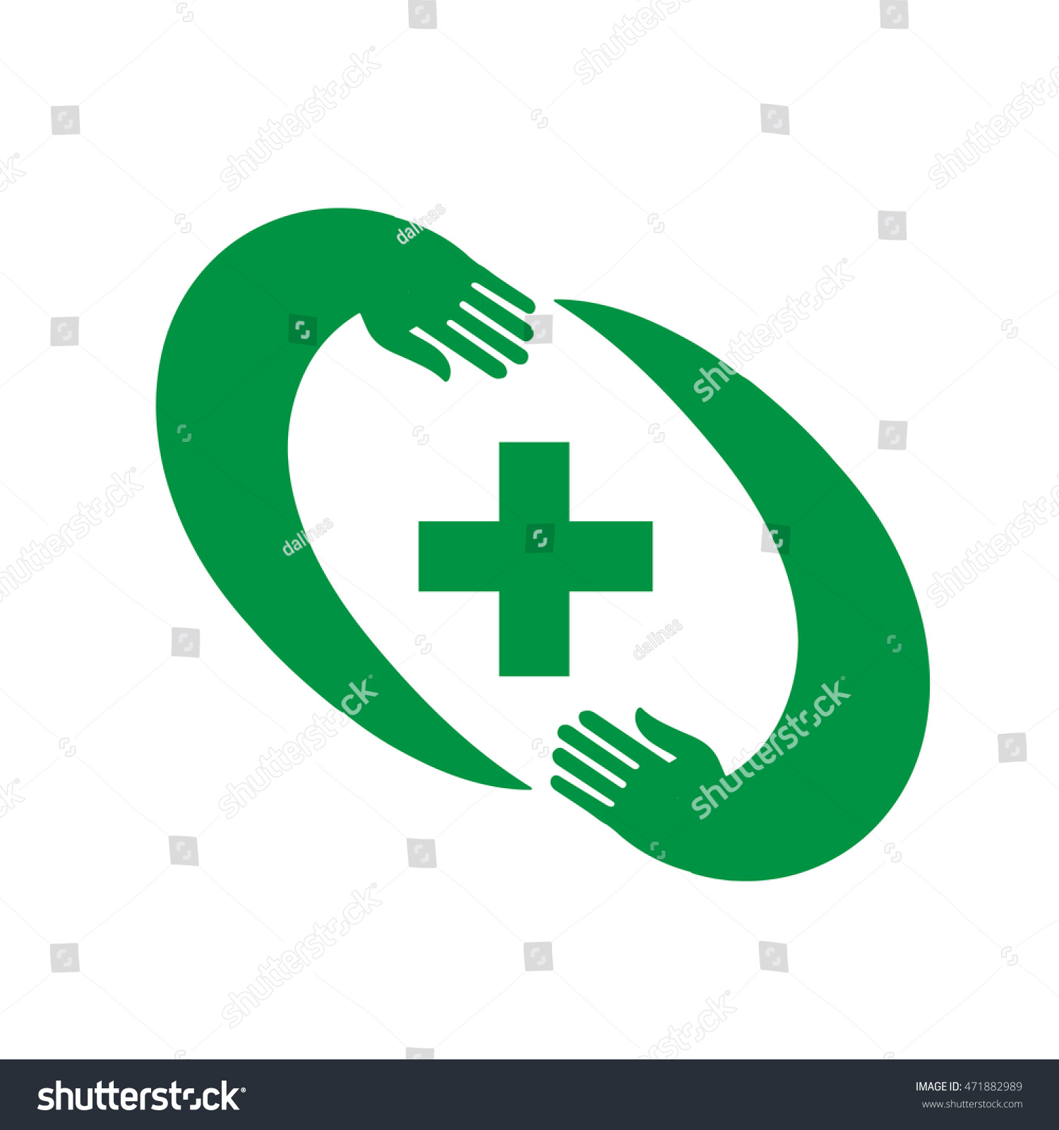 Pharmacy Cross Frame Two Hands Vector Stock Vector (Royalty Free ...