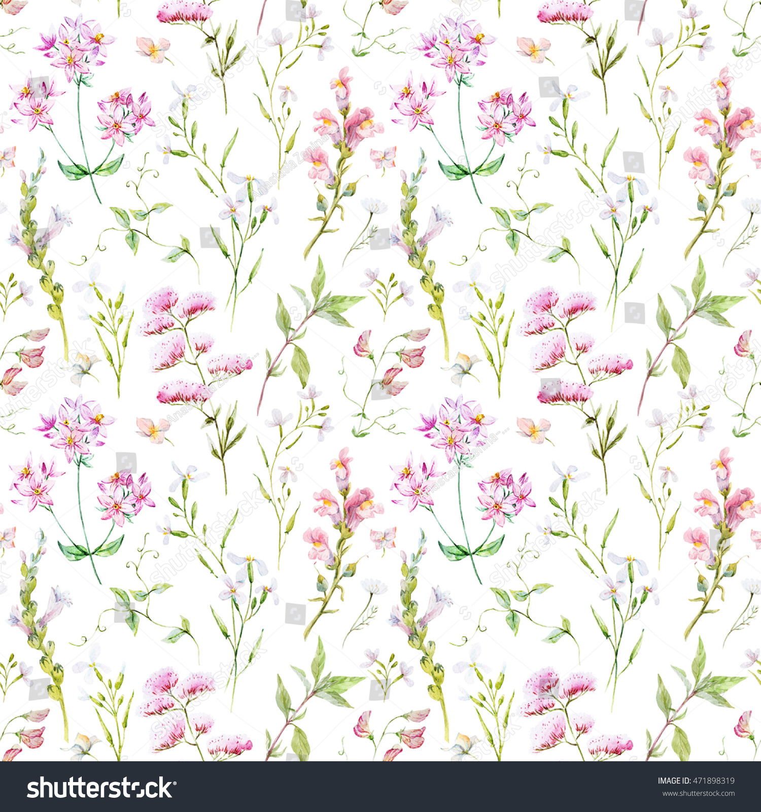 Watercolor Floral Pattern Delicate Floral Wallpaper Stock