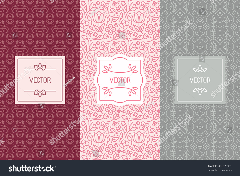 Vector Set Design Elements Seamless Patterns Stock Vector 471920351 ...