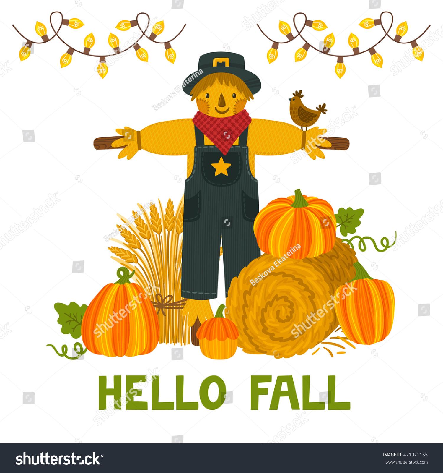 Vector Autumn Background Pumpkins Hay Bale Stock Vector