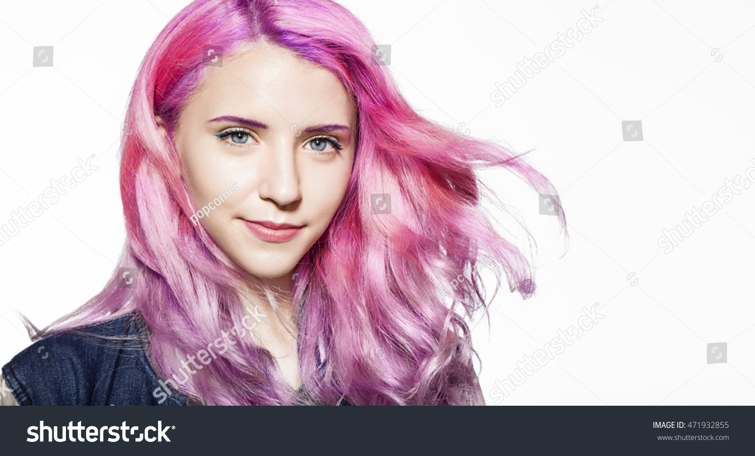 Portrait Beautiful Girl Colorful Hair On Stock Photo Edit Now