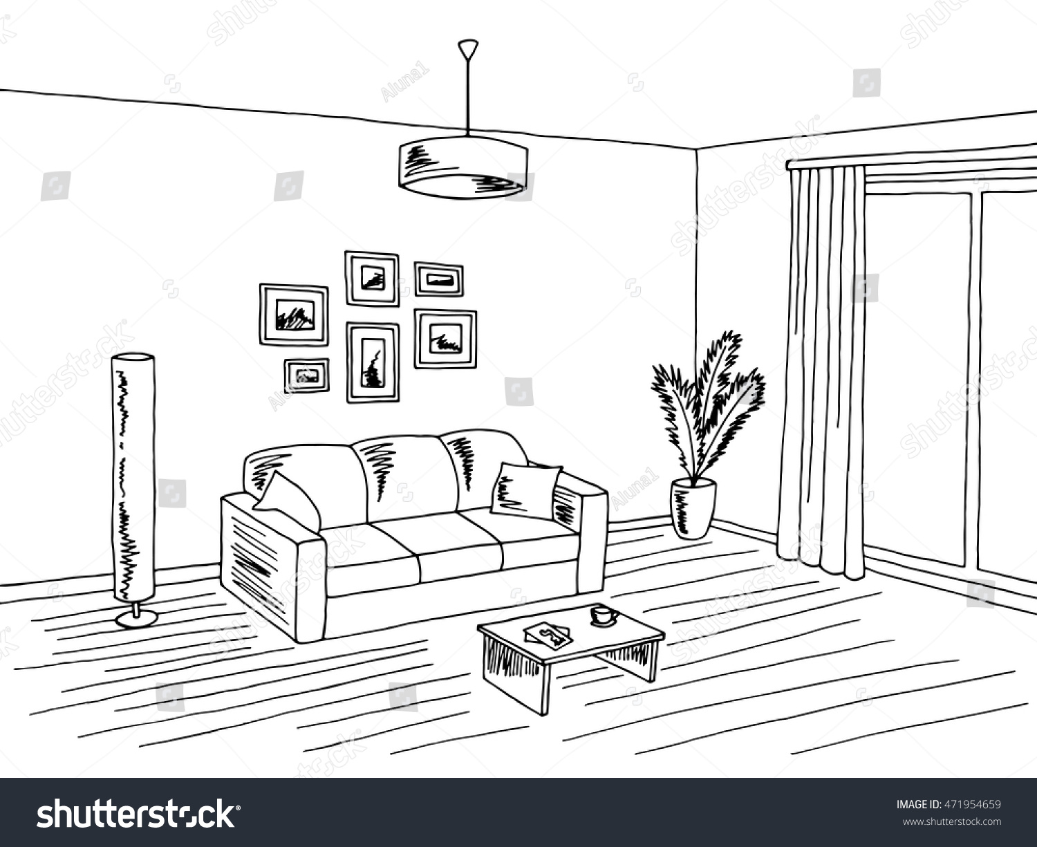 Living Room Interior Black White Graphic Art Sketch Illustration Vector