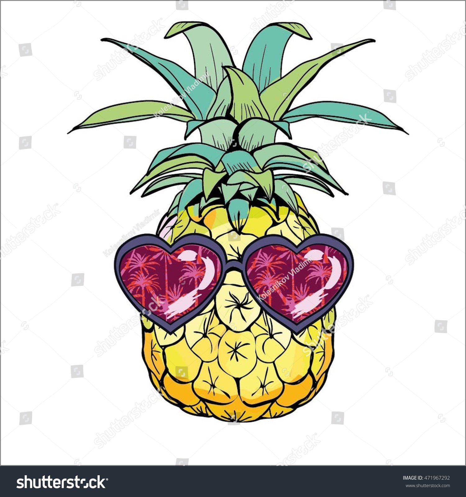 pineapple with sunglasses clipart. pineapple with glasses-vector illustration sunglasses clipart