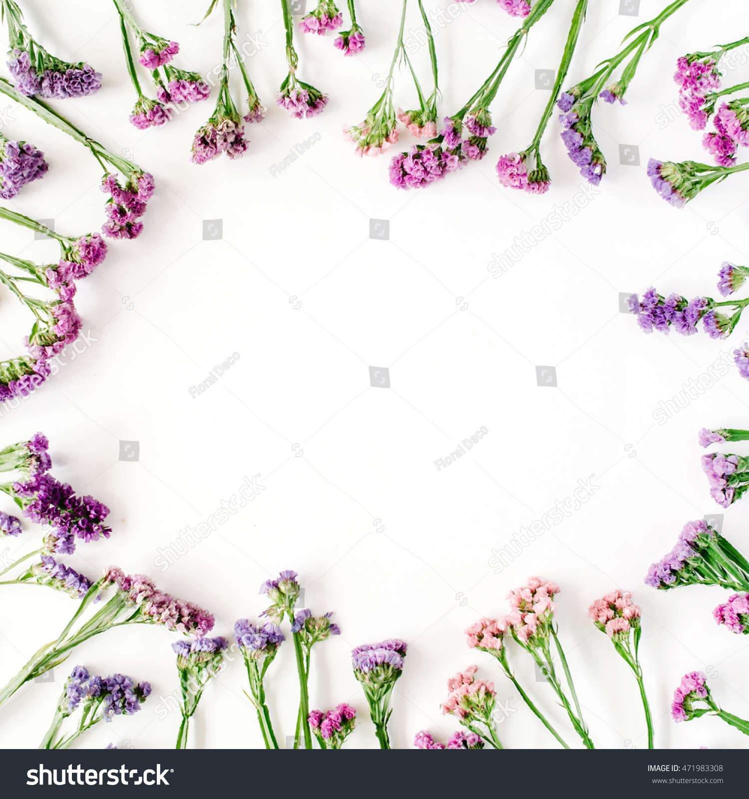 Frame With Dried Flowers On White Background Autumn Flat Lay