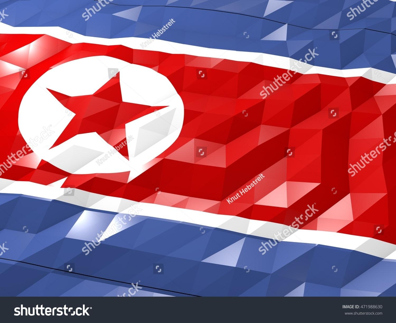 Flag North Korea 3 D Wallpaper Illustration Stock Illustration