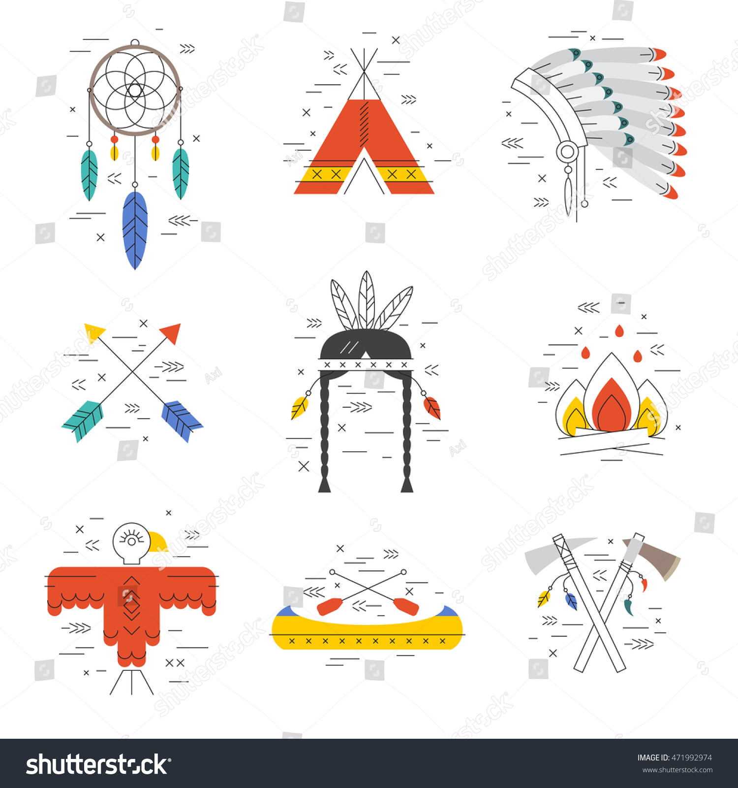 Native american vector elements concept tribal stock vector native american vector elements concept tribal line design indian symbol set isolated dreamcatcher biocorpaavc Gallery