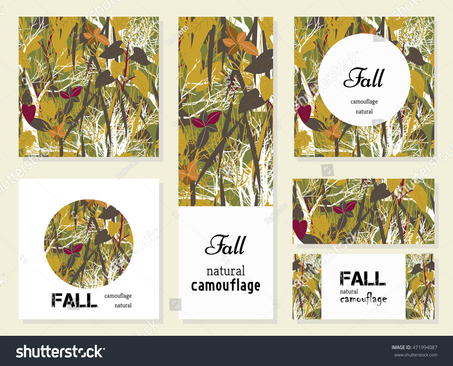 Collection Autumn Woodland Camouflage Background Set Stock Vector ...