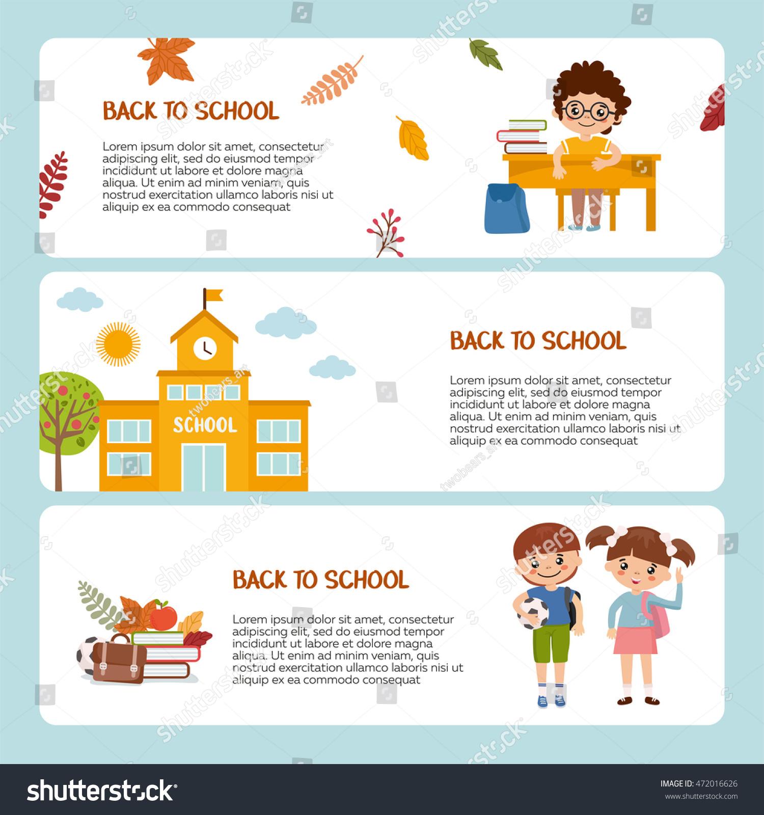 back school banner template pupil school stock vector 472016626 shutterstock. Black Bedroom Furniture Sets. Home Design Ideas