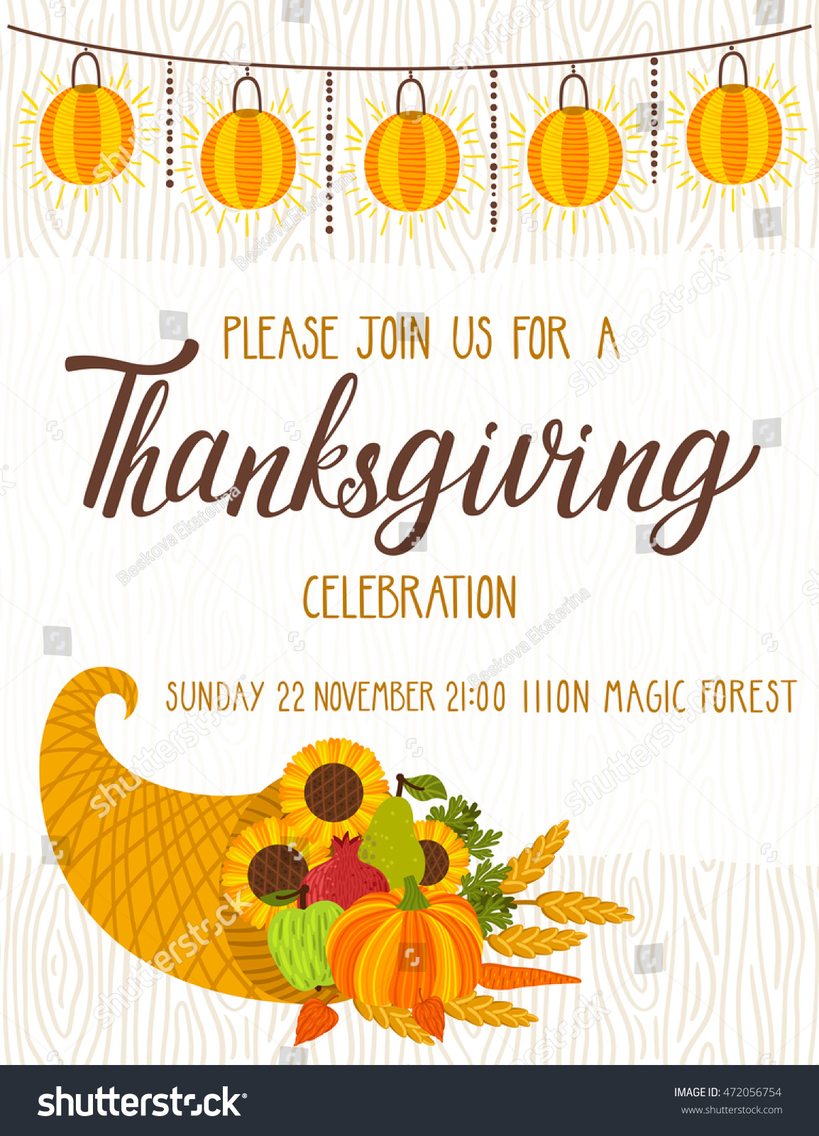 vector thanksgiving invitation template invite harvest stock vector