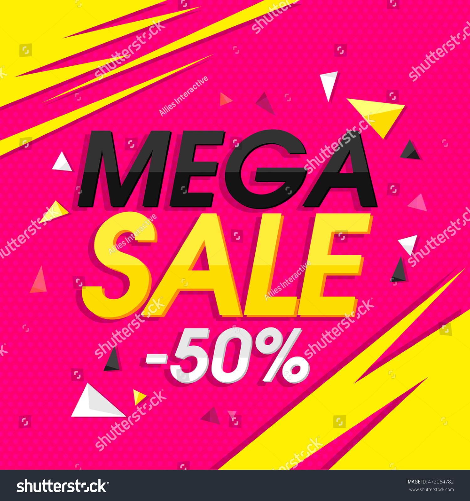 Mega Sale 50 Off Creative Poster Vector 472064782 Shutterstock – Sale Flyer Design