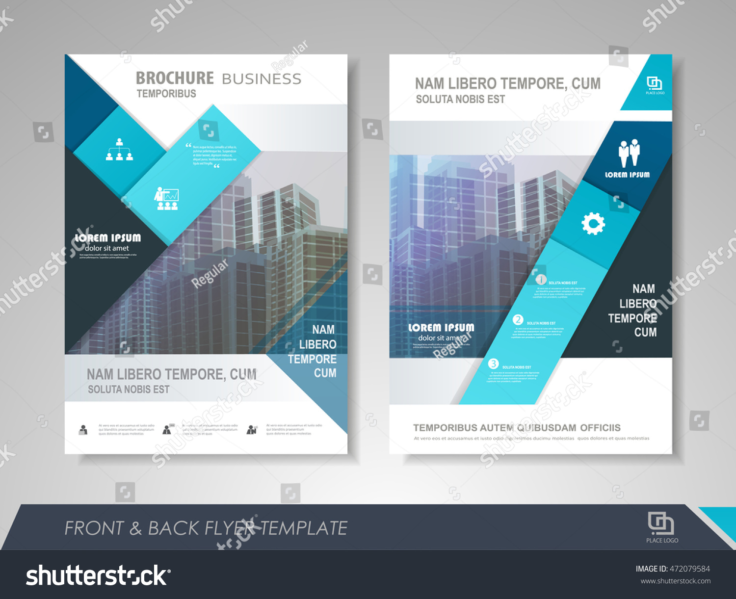 Front Back Page Brochure Template Flyer Stock Vector