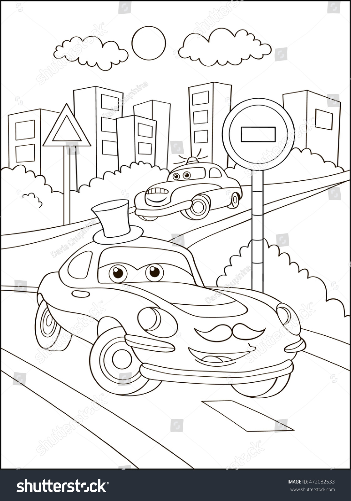 Cute Hipster Car In City Coloring Page Book Outdoor Sport Theme Funny
