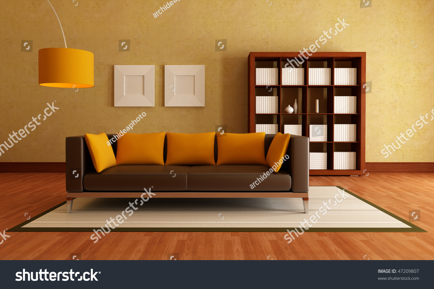 Orange And Brown Living Room Brown Modern Couch And Wood Bookcase In A Living Room Rendering