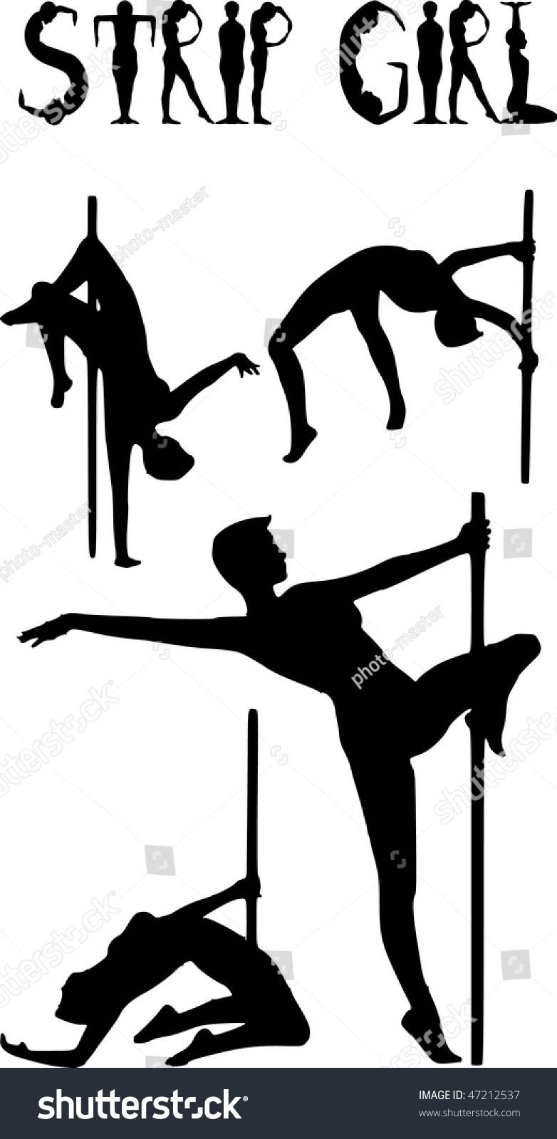 Set of vector silhouettes of a naked stripper woman with a pole. Set Vector Silhouettes Naked Stripper Woman Stock Vector 47212537