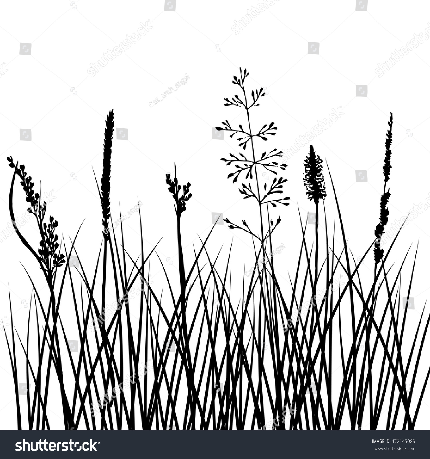 Vector Silhouettes Flowers Grass Background Wild Stock Vector (2018 ...