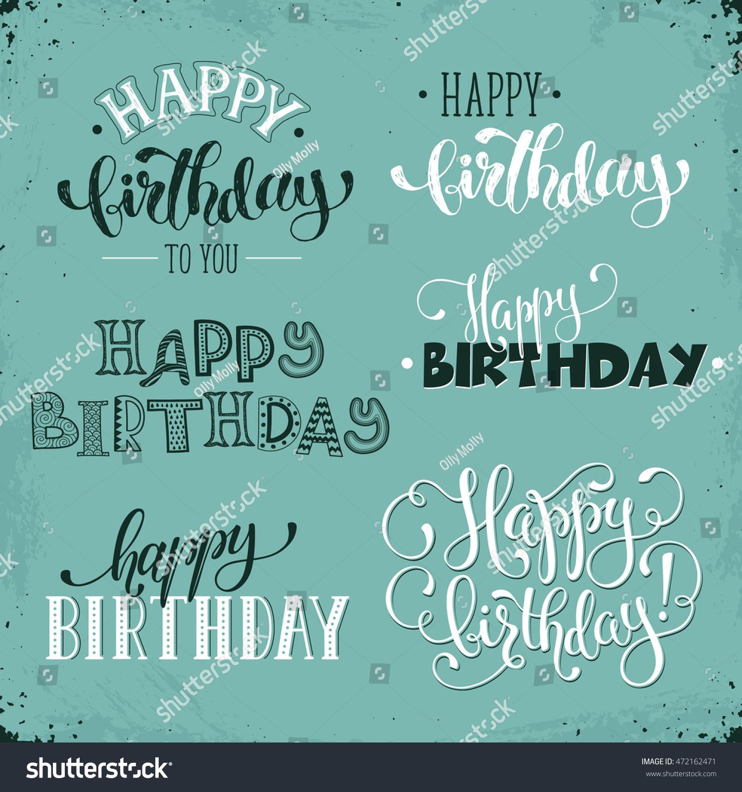 Hand Written Happy Birthday Vintage Phrases Stock Vector Royalty