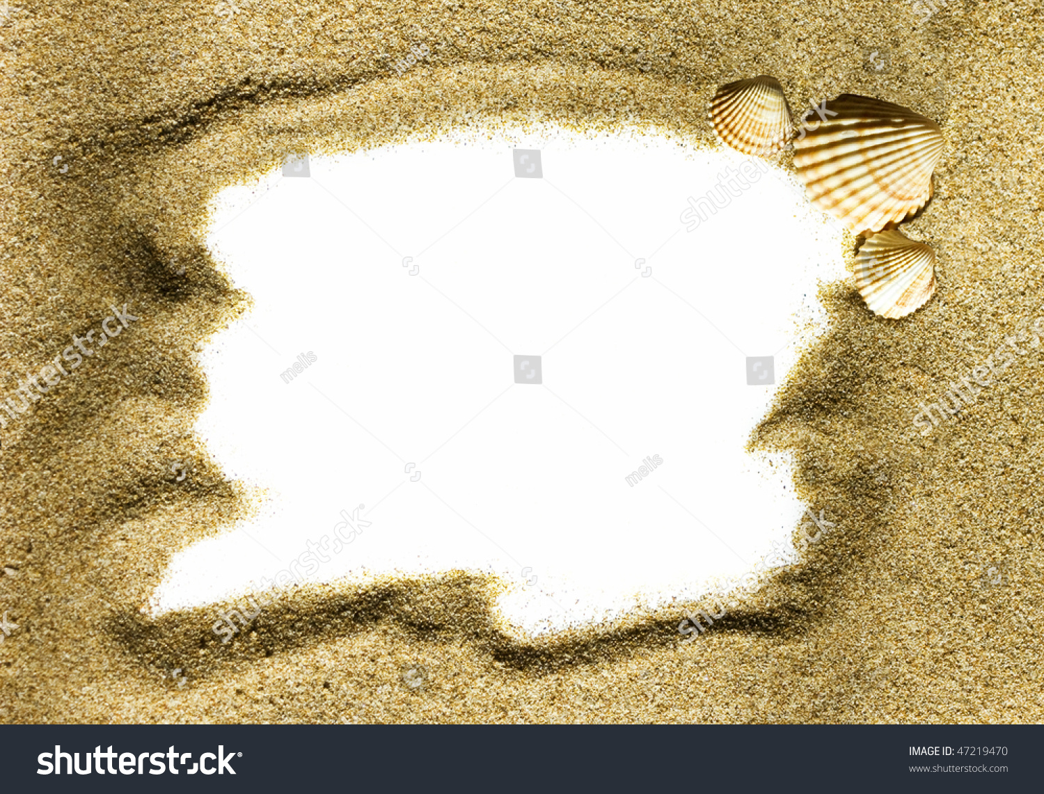holiday concept sea sand frame with copy space