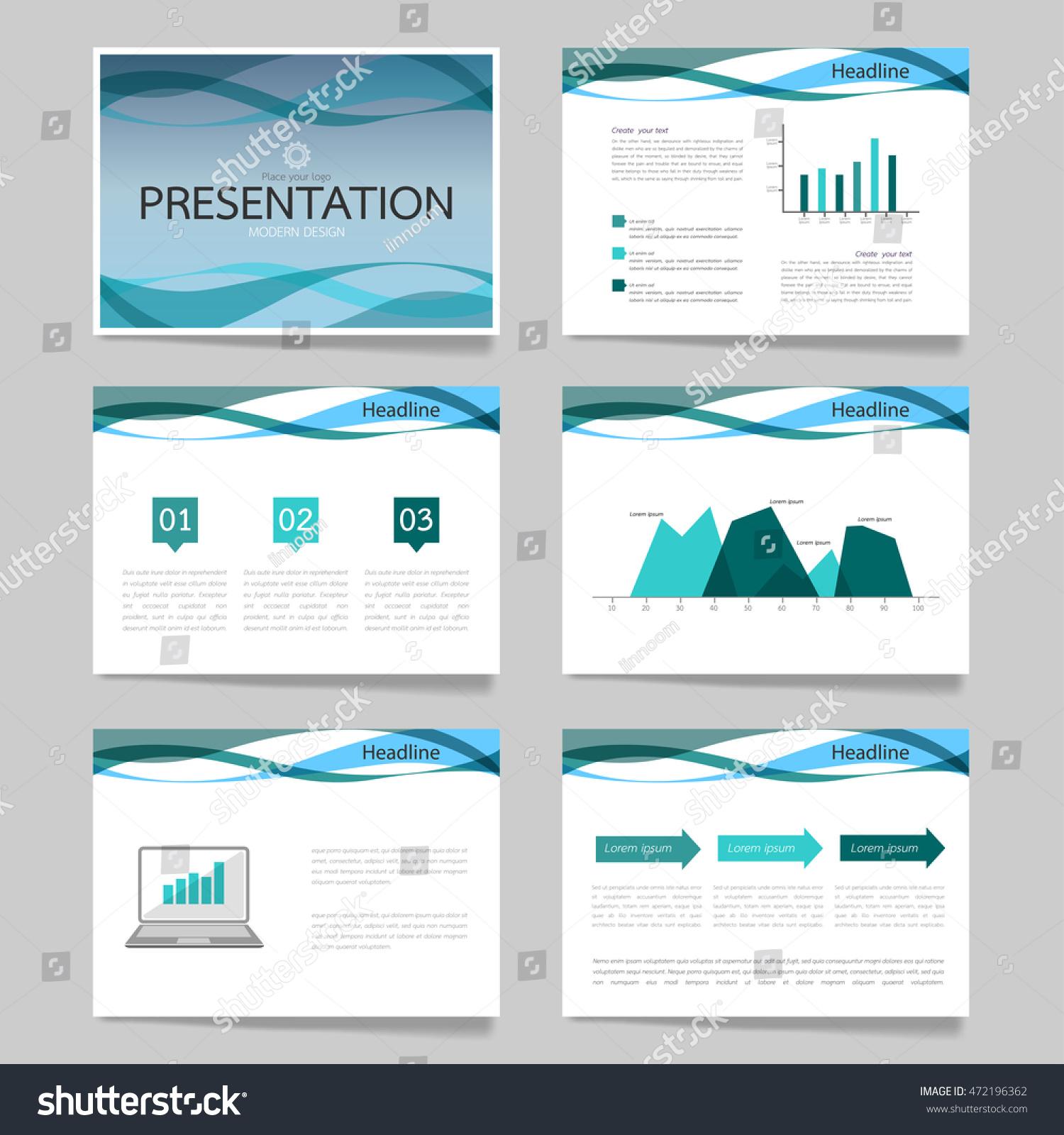 Template vector curve blue set brochure stock vector for Horizontal brochure design