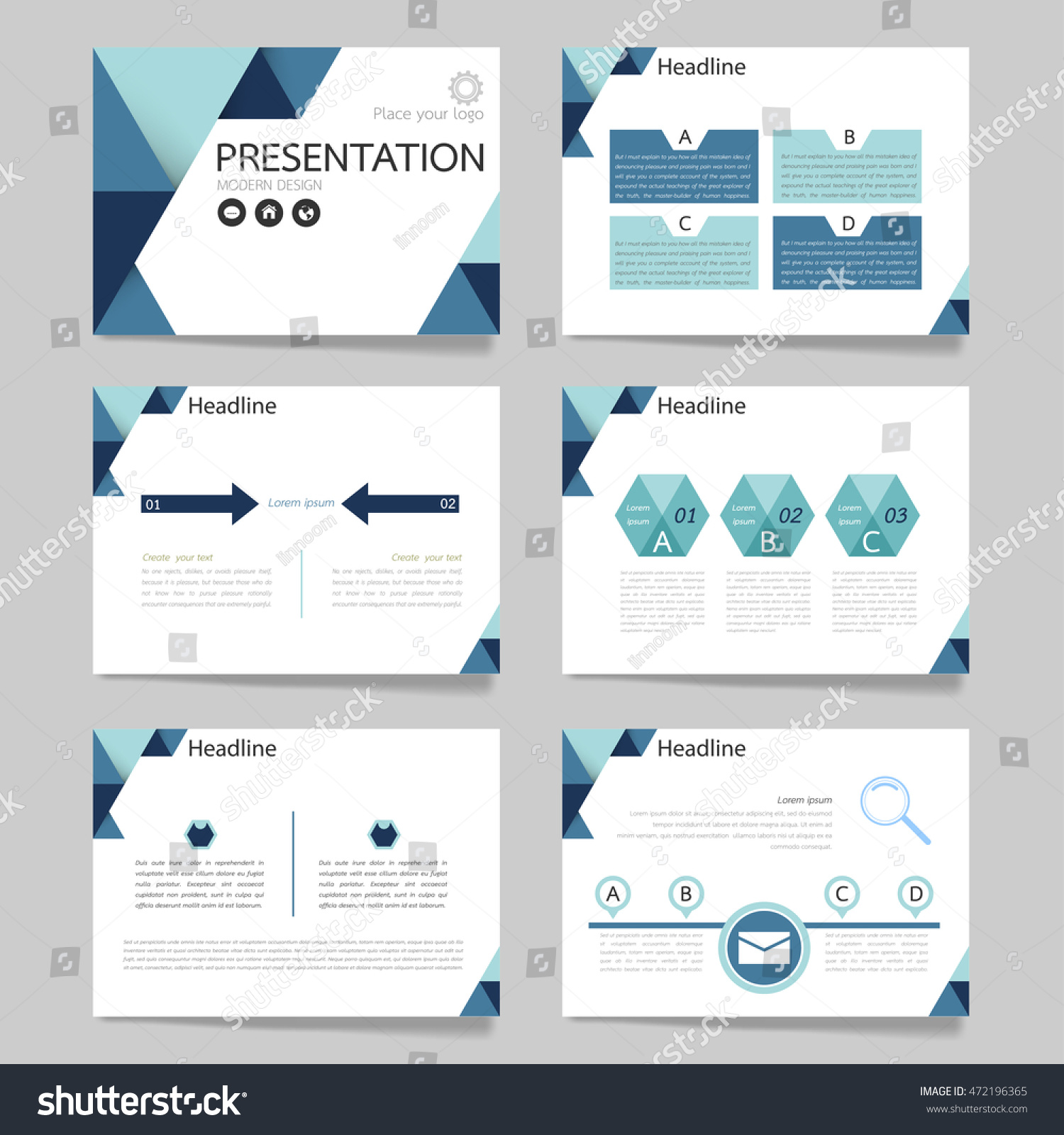 horizontal brochure template - template vector triangle blue set brochure stock vector
