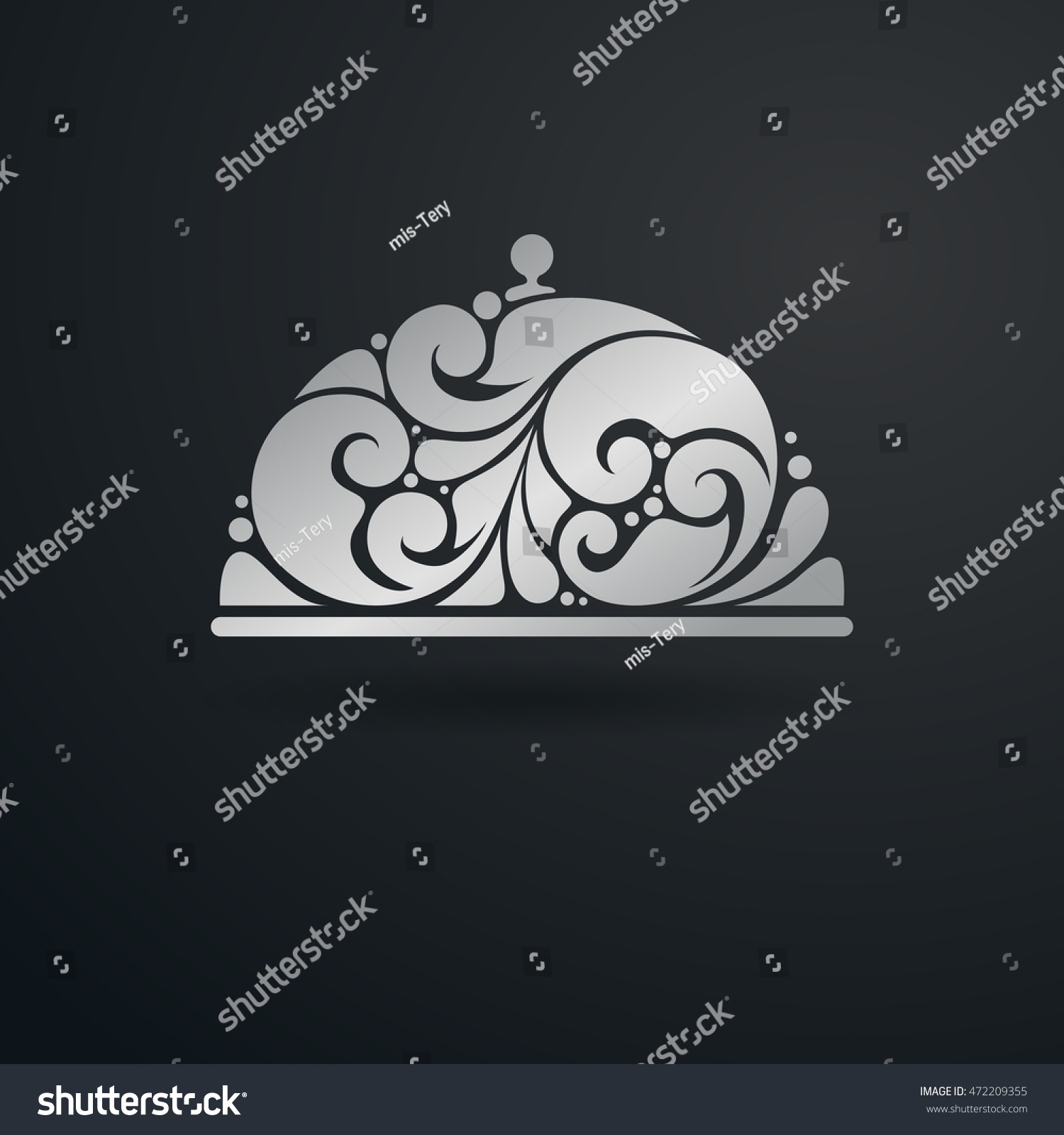 Floral ornamental decorative silver menu dish stock vector floral ornamental decorative silver menu dish symbol icon design element vector illustration tray with lid buycottarizona