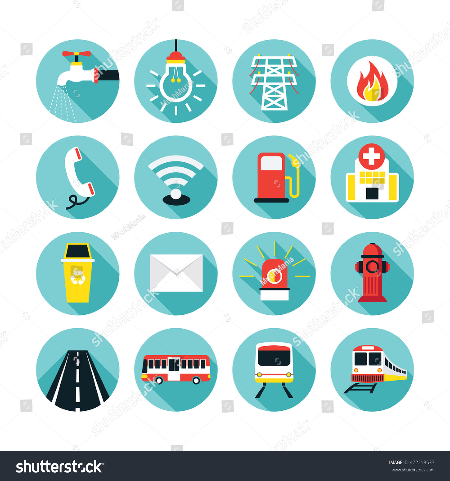 Public Utility Icons Flat Set Water Stock Vector 472213537