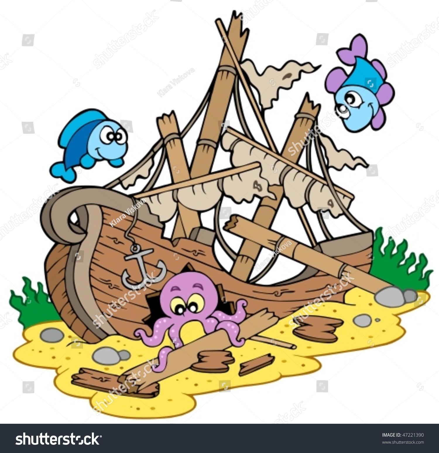Shipwreck Sea Bottom Vector Illustration Stock Vector
