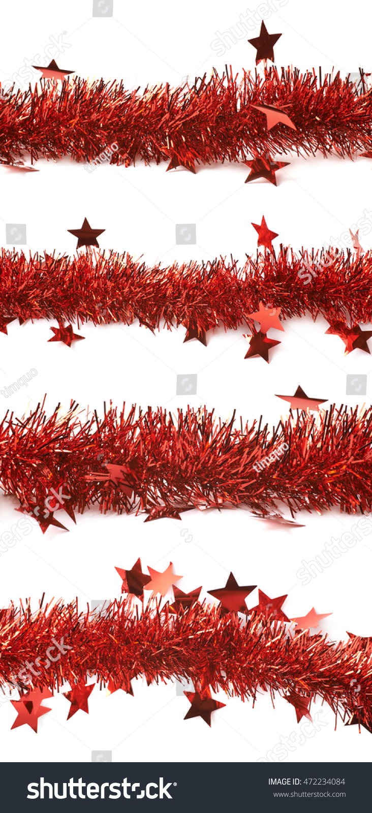 Line red tinsel decorational christmas garland stock photo