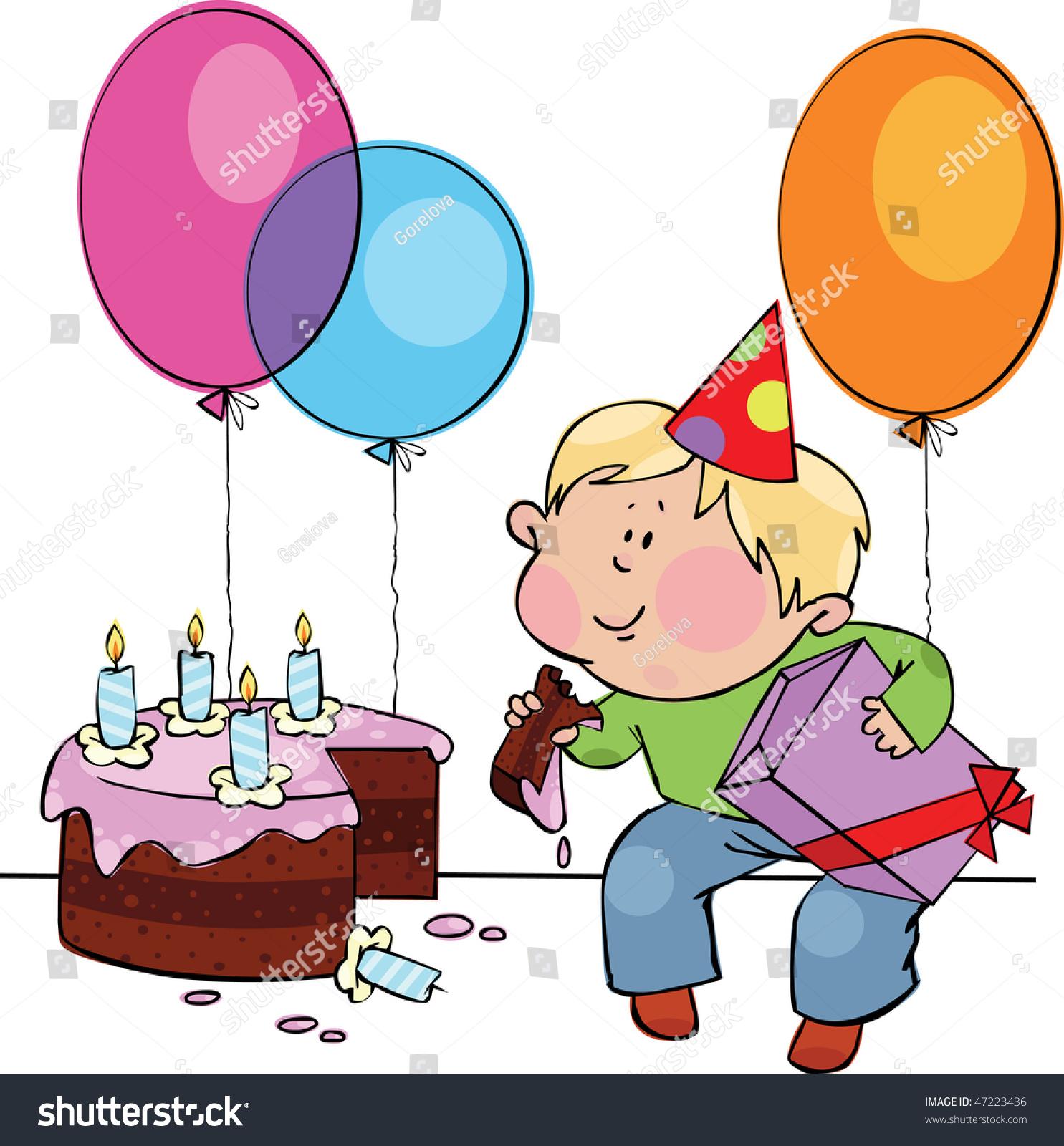 Stupendous Little Boy Eating Birthday Cake Stock Vector Royalty Free 47223436 Funny Birthday Cards Online Hendilapandamsfinfo