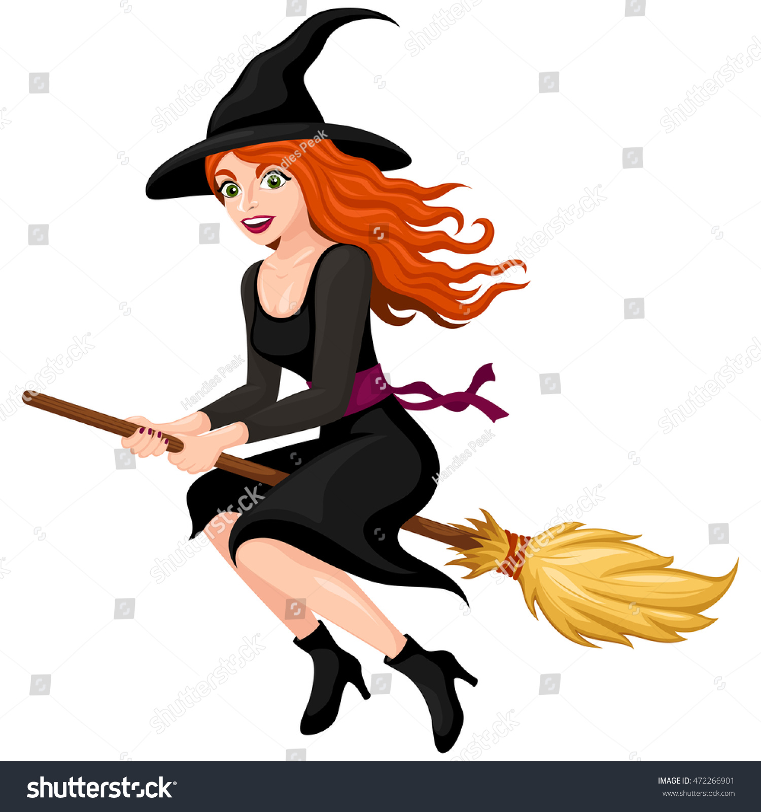 vector illustration pretty redhaired cartoon witch stock vector
