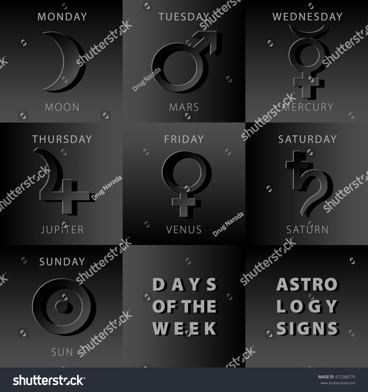 Mars stock symbol images symbols and meanings week days astrology signs moon mars stock vector 472268779 week days astrology signs moon mars mercury buycottarizona Image collections