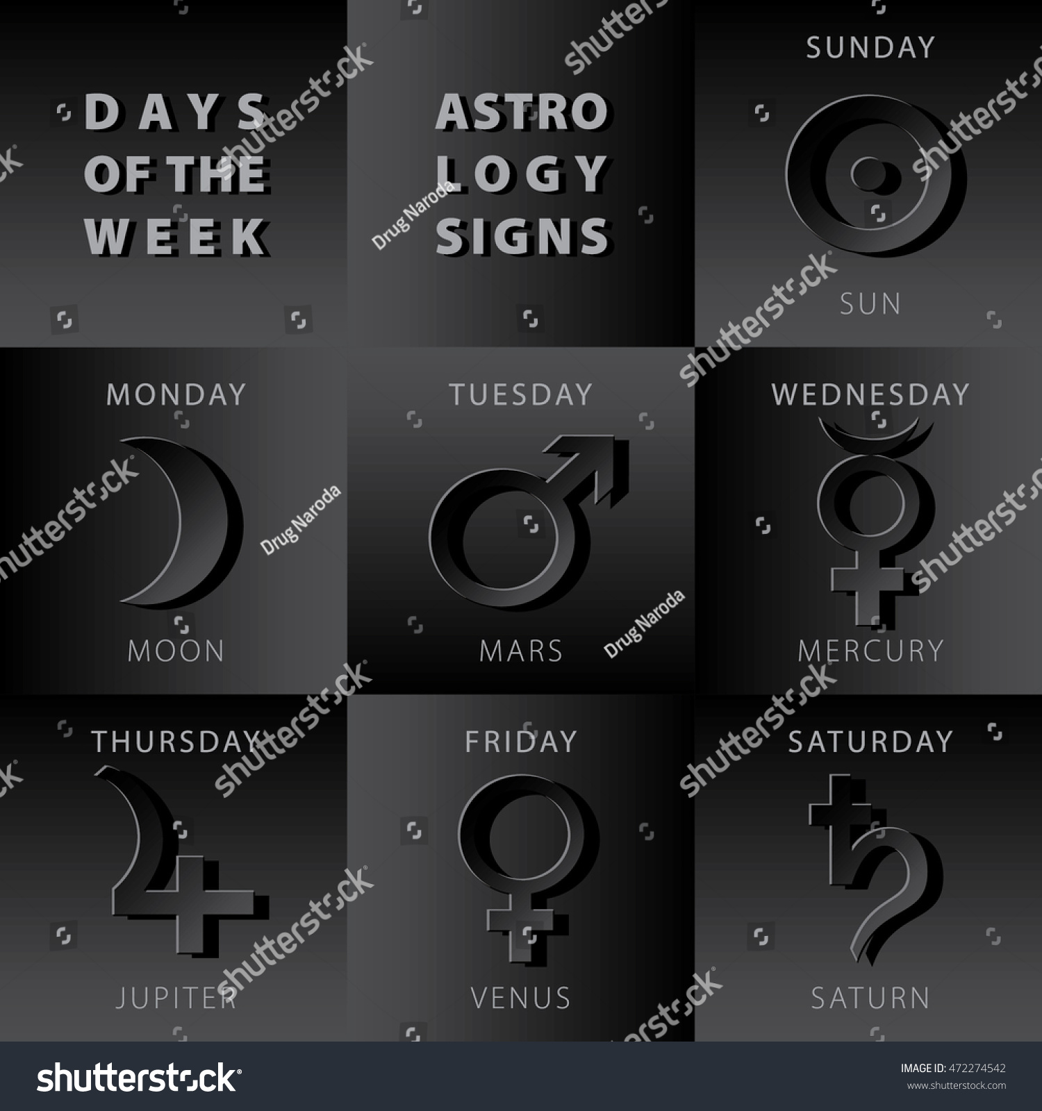 Mars stock symbol images symbols and meanings week days astrology signs moon mars stock vector 472274542 week days astrology signs moon mars mercury buycottarizona Image collections