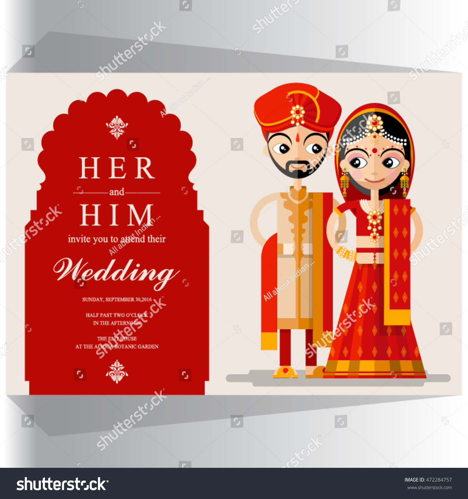 Indian Wedding Invitation Card Stock Vector (Royalty Free) 472284757 ...