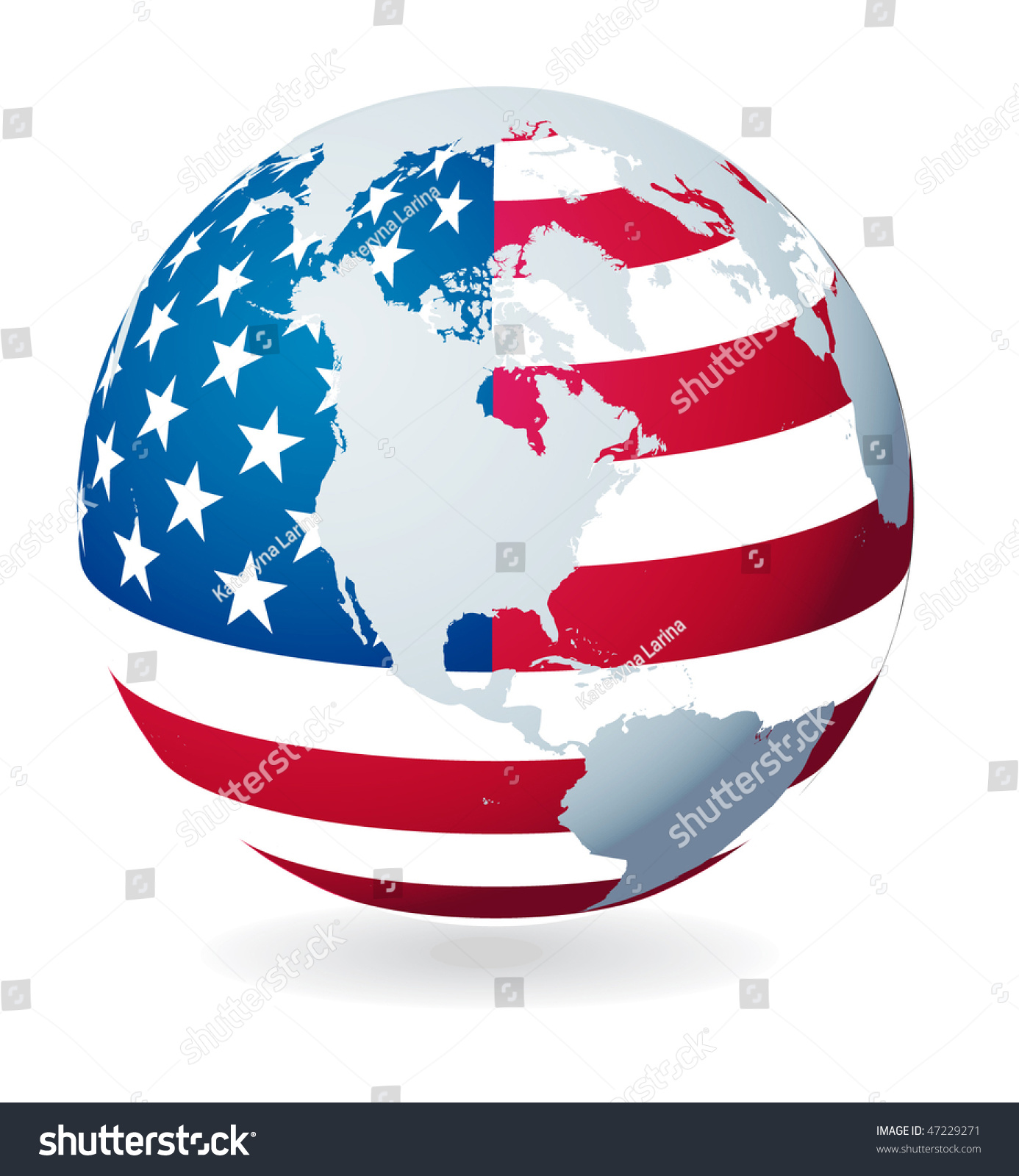 Globe Flag Usa File Eps Stock Vector Shutterstock - Globe of usa
