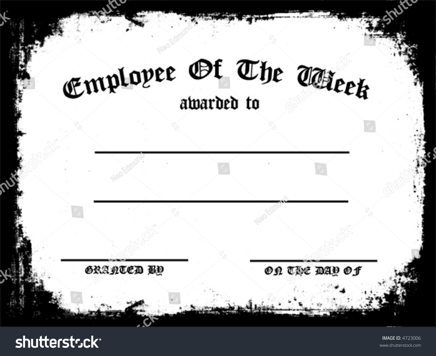 Customizable Employee On Week Certificate Vector Stock ...