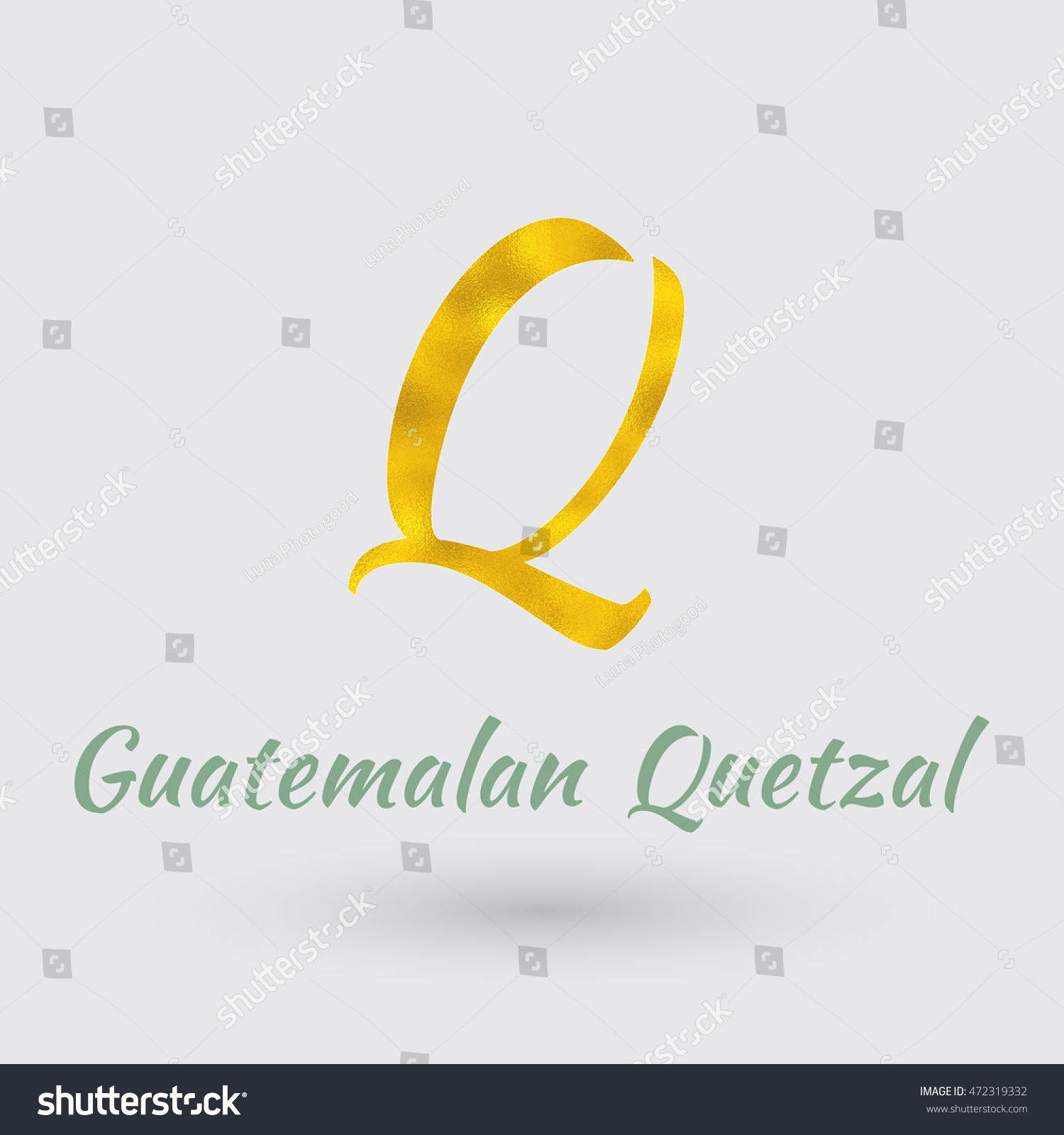 Symbol Guatemala Currency Golden Texture Vector Eps Stock Vector