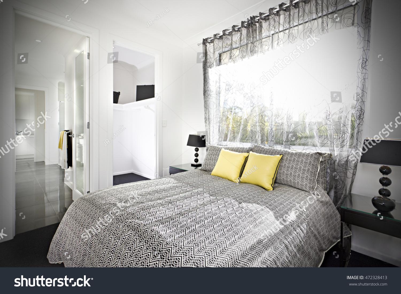 Illuminated bedroom pattern designed bed sheet stock photo for Illuminated bed