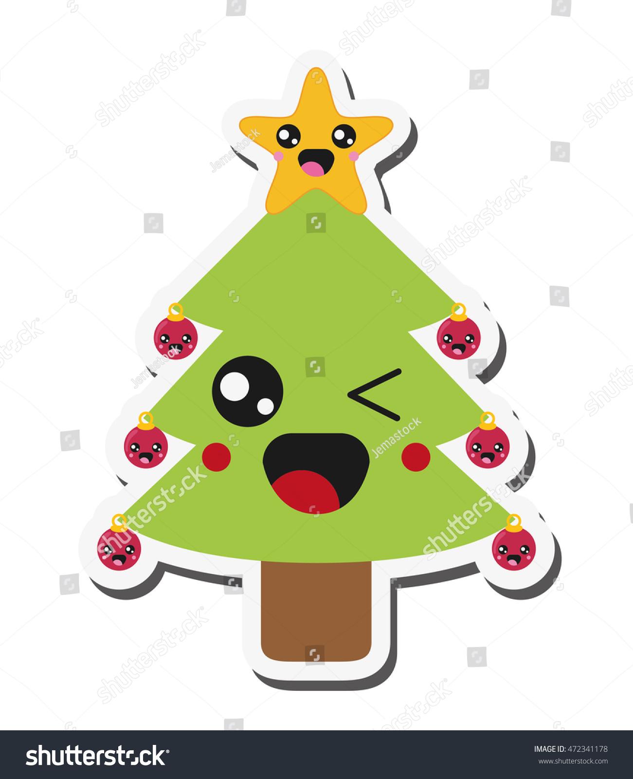Flat Design Kawaii Christmas Tree Icon Stock Vector 472341178 ...