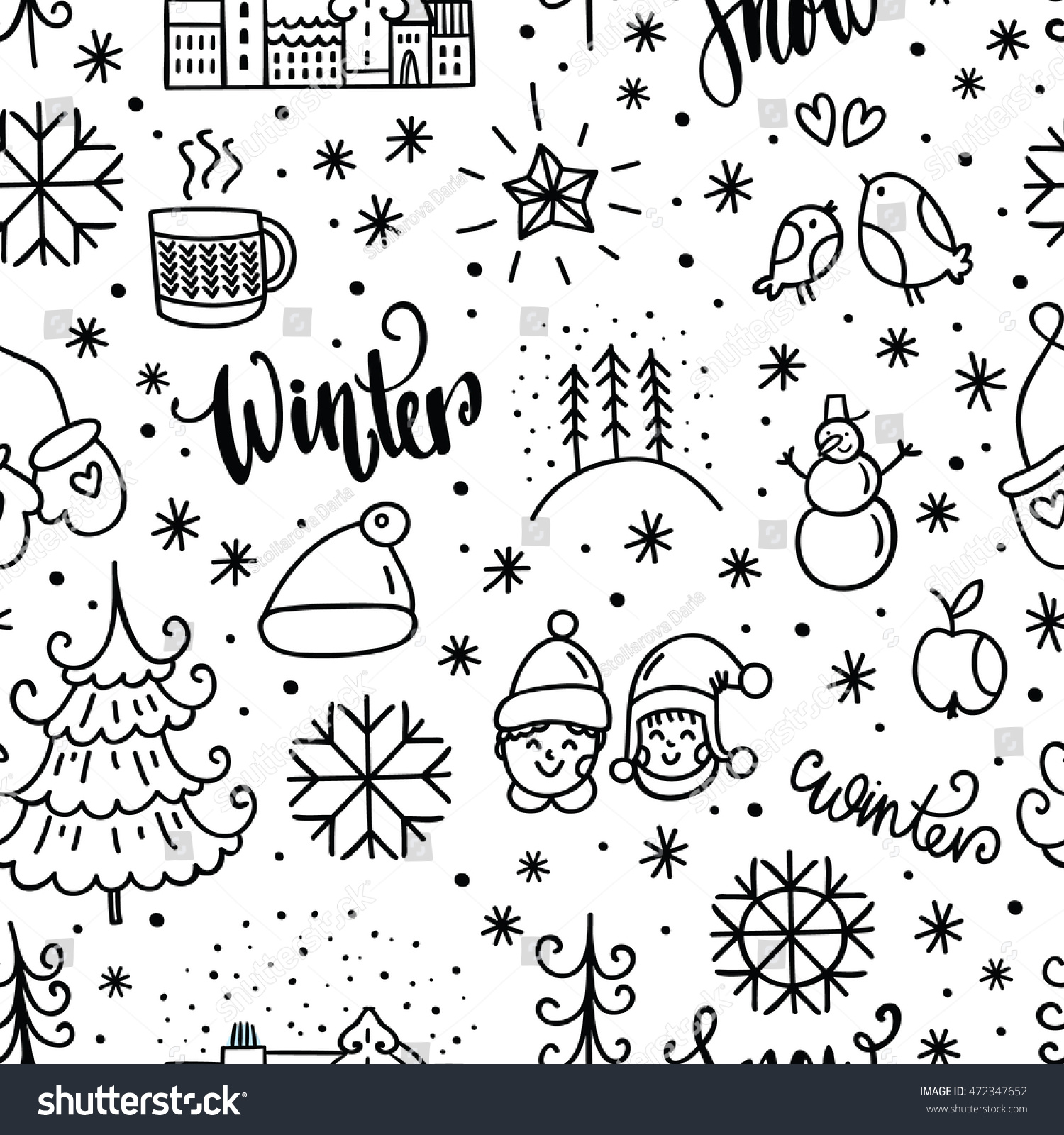 Winter Doodles Icon Hand Drawn Seamless Stock Vector ...