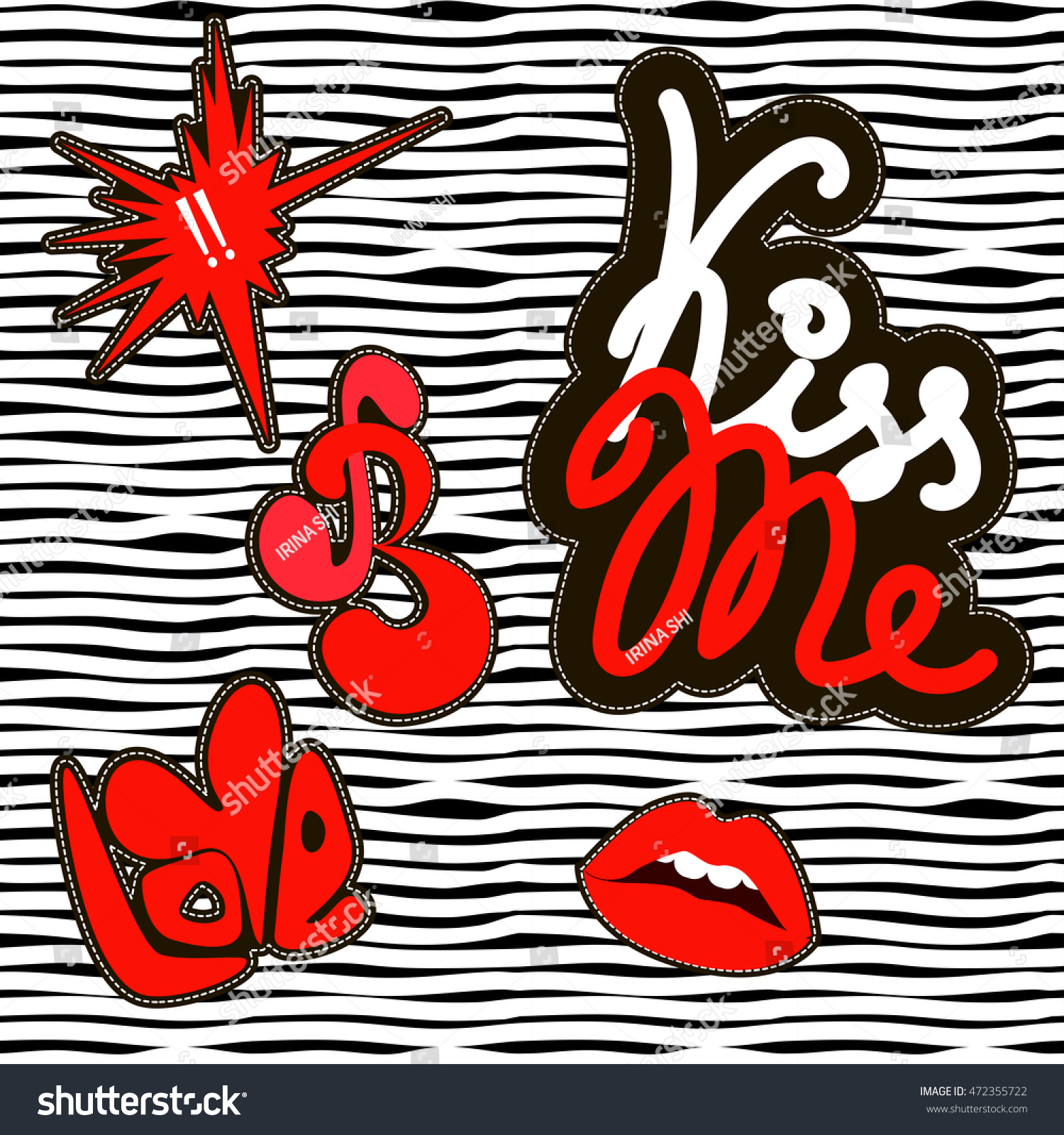 Fashion cute patch badges For t-shirt or other uses in vector