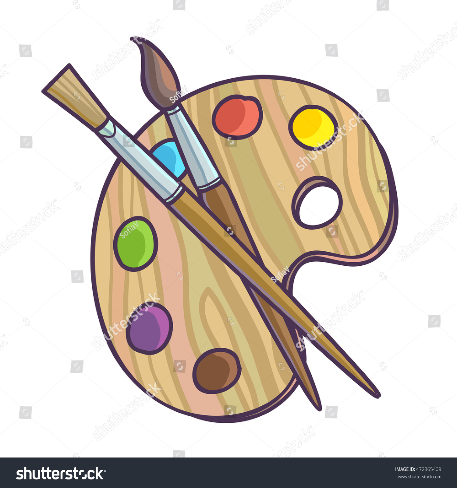 Art Palette Paint Brush Drawing Vector Stock Vector (Royalty Free) 472365409