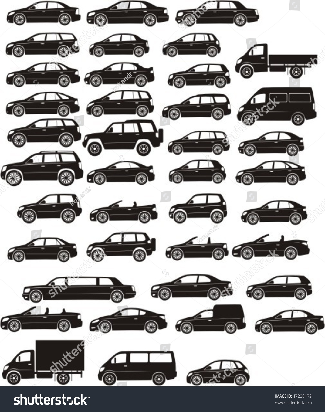 Set Silhouette Different Types Cars Stock Vector Shutterstock