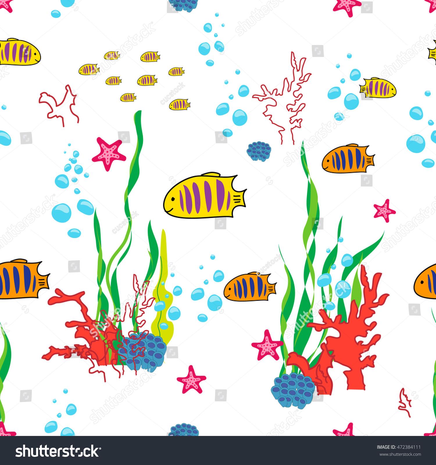 sea life cartoon fish ocean inhabitants stock illustration
