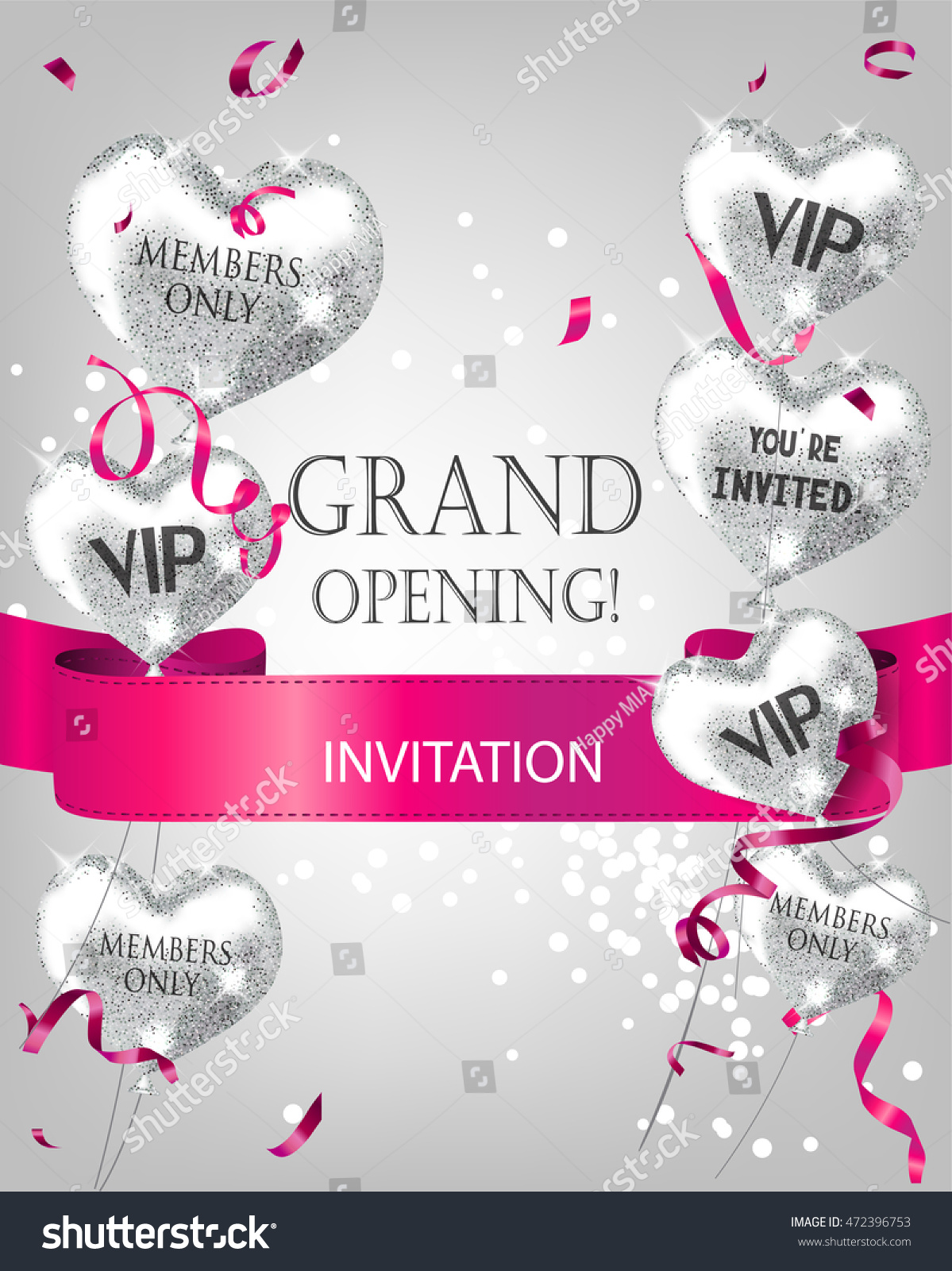Grand opening invitation card sparkling heartshaped stock vector grand opening invitation card with sparkling heart shaped silver air balloons pink ribbon and biocorpaavc Choice Image