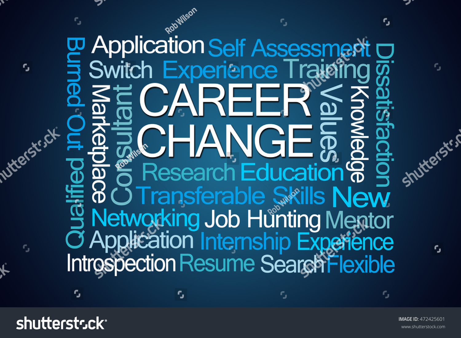 career change word cloud on blue background stock photo  save to a lightbox