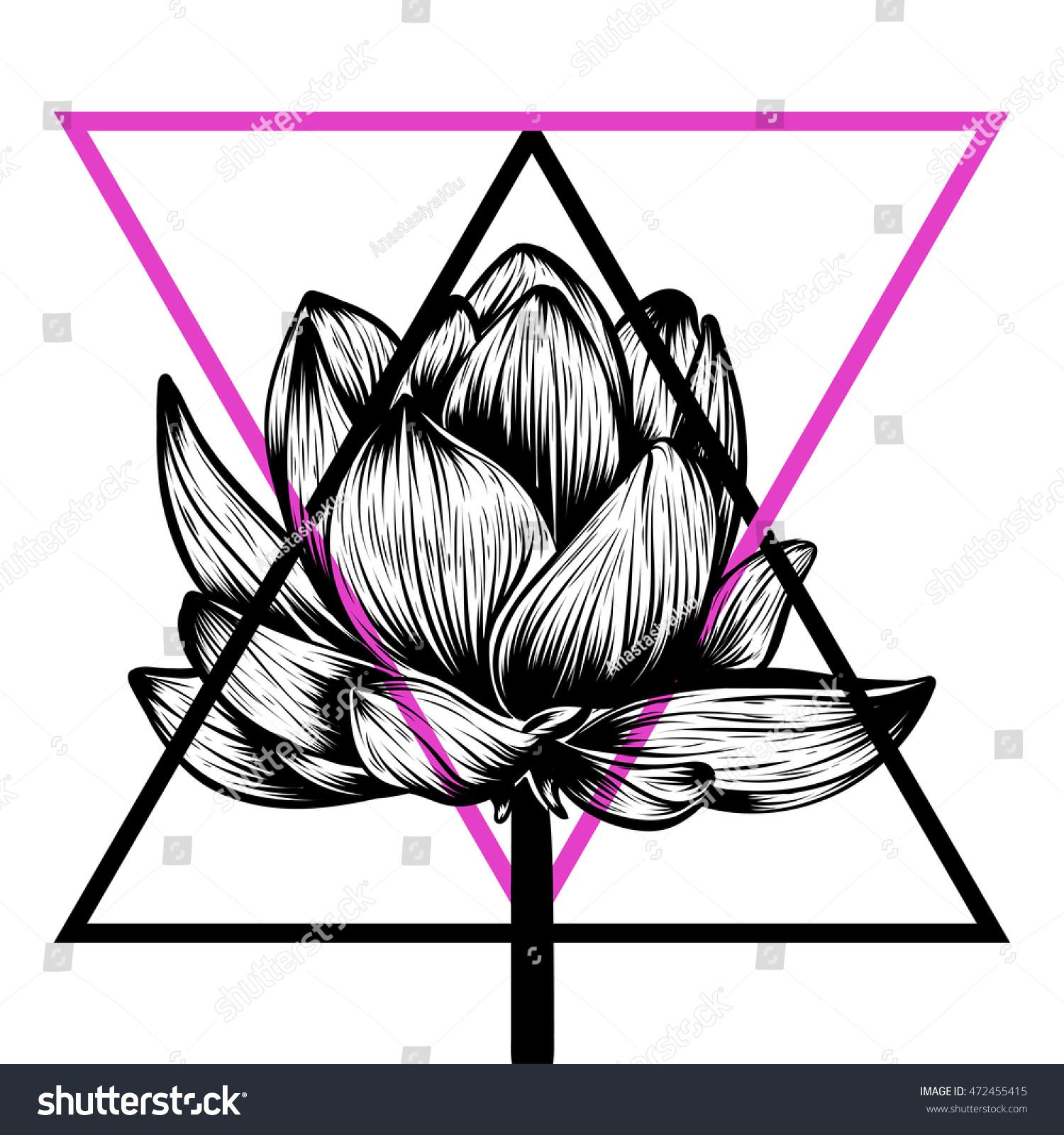 Hand drawn lotus flower tshirt tattoo stock photo photo vector hand drawn lotus flower t shirt tattoo design element bouquet concept art izmirmasajfo Images