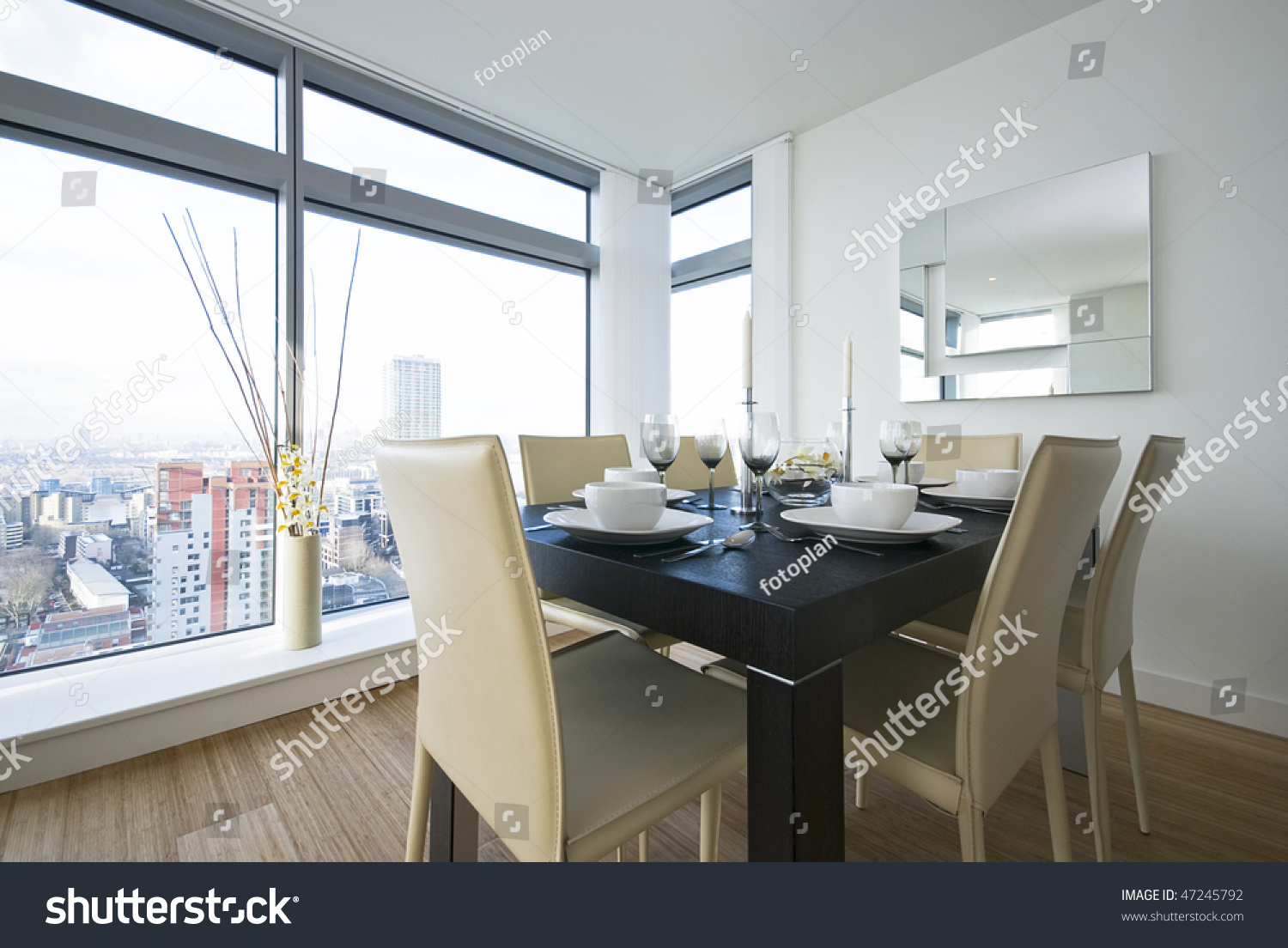 Detail beautiful dining area wooden dining stock photo for Beautiful dining area