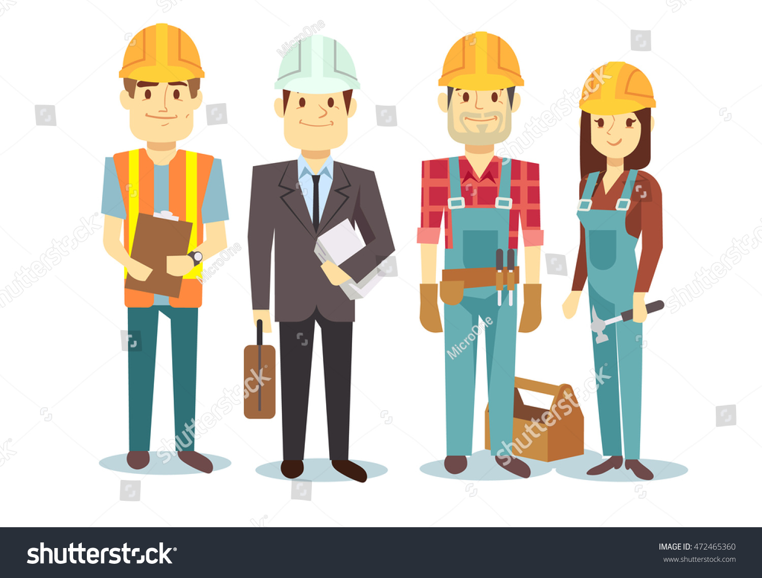 construction workers team vector builder characters stock vector