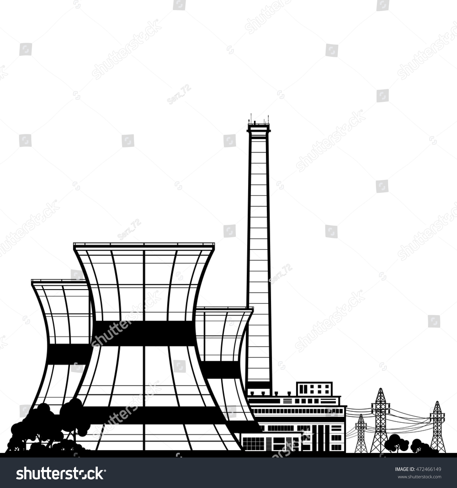 Silhouette Nuclear Power Plant Thermal Power Stock Vector