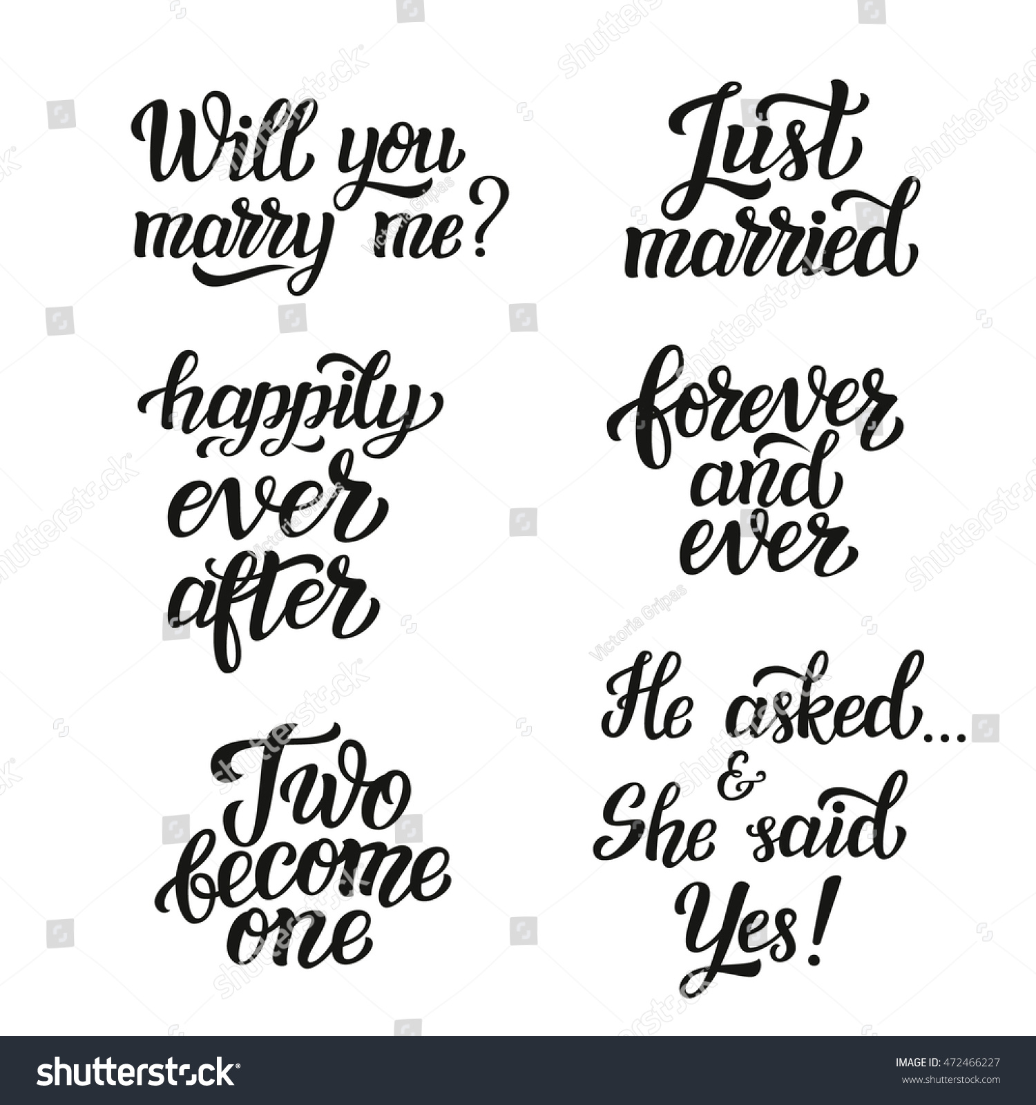 Just Married Quotes Hand Lettering Typography Wedding Set Romantic Stock Vector