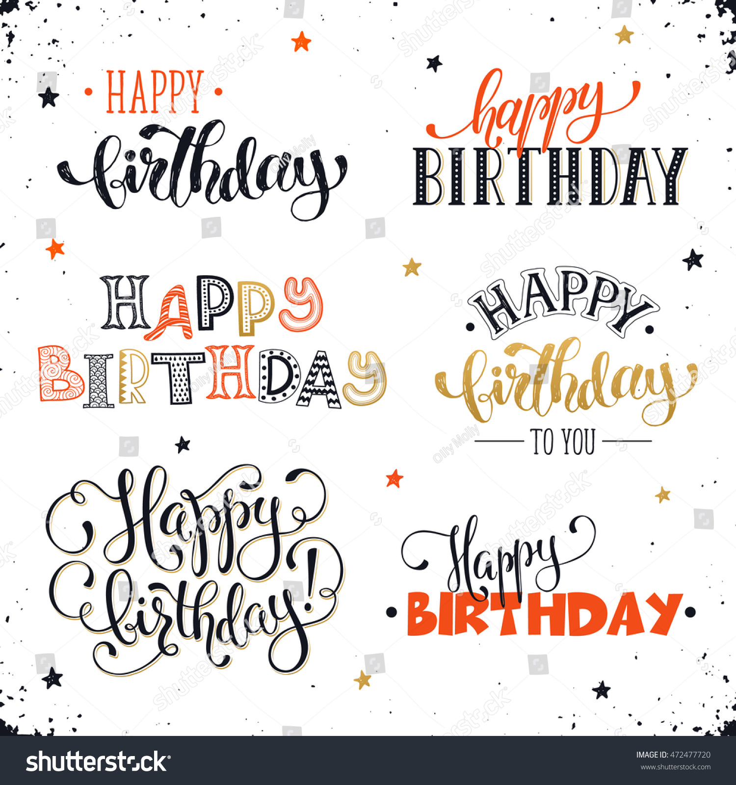 Hand Written Happy Birthday Phrases Red Stock Vector Royalty Free